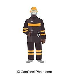 vuurvast, brandweerman, helmet., style., gekke , karakter, vrijstaand, uniform, achtergrond., witte , vervelend, plat, beschermend, kleurrijke, brandweerman, illustratie, spotprent, vector, mannelijke , redder, of, kleren