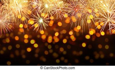 vuurwerk, achtergrond, ontploffing, viering