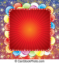 vuurwerk, ballons, achtergrond, feestelijk