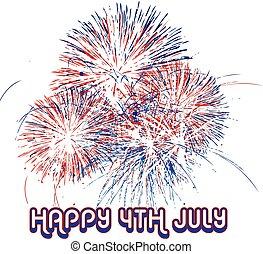 vuurwerk, dag, onafhankelijkheid