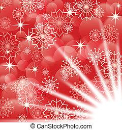 vuurwerk, eps10, snowflakes, achtergrond, witte kerst, rood