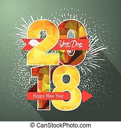 vuurwerk, illustratie, etiket, 2018, jaar, nieuw, badge, vrolijke