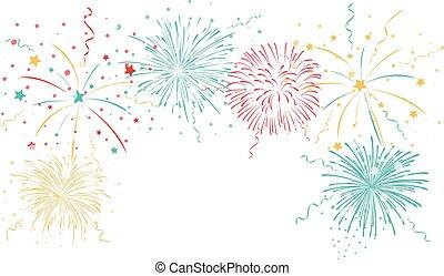 vuurwerk, kleurrijke, achtergrond