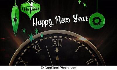 vuurwerk, klok, vrolijke , ticking, jaar, nieuw