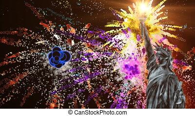 vuurwerk, standbeeld, vrijheid