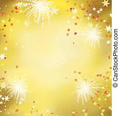 vuurwerk, viering, gouden, background.celebrating, gouden,...