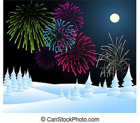 vuurwerk, winterlandschap, kerstmis