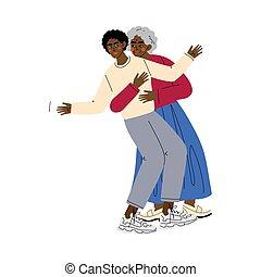 vuxen, krama, mor, gammal, lycklig, afrikansk, familj, illustration, kvinna, begrepp, man, son, äldre, vektor, ung, amerikan