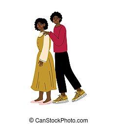 vuxen, krama, mor, mamma, man, lycklig, afrikansk, familj, illustration, hans, begrepp, son, vektor, ung, amerikan