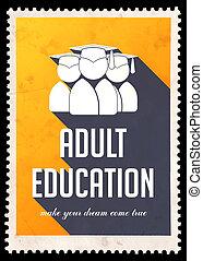vuxenutbildning, på, gul, in, lägenhet, design.