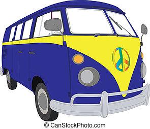 Colourfu beetle van camper