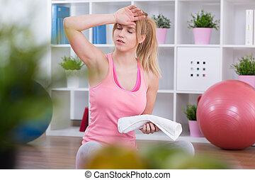 vyčerpaný, cvičení, po