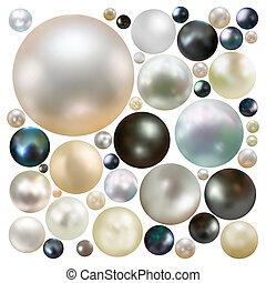 vybírání, o, barva, perla, isolated., eps, 8