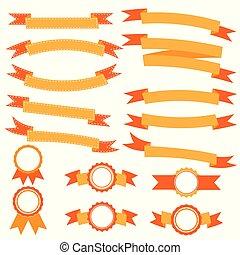 vybírání, pomeranč, lem, standarta, vektor, ilustrace