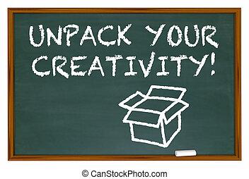 vybalit, tvůj, tvořivost, křída prkna, obrazotvornost, 3, ilustrace