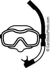 vybavení, neposkvrněný, čerň, snorkeling, ikona