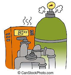 vybavení, pumpa, topení, kaluž