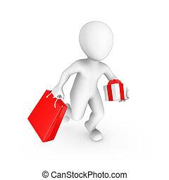 vydat, nakupování, dar, lidský, neposkvrněný, bag., 3