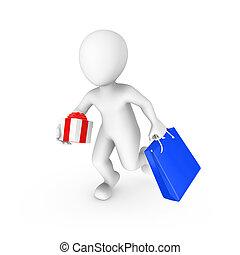 vydat, nakupování, dar, národ., ilustrace, lidský, malý, neposkvrněný, bag., 3