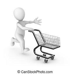 vydat, shopping vozík, neposkvrněný, 3, voják
