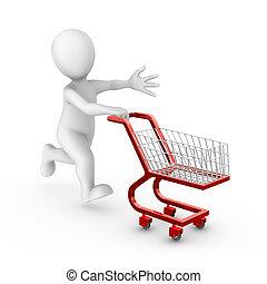 vydat, shopping vozík, neposkvrněný, voják, červeň, 3
