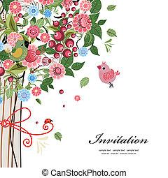 vykort, design, med, dekorativ, träd