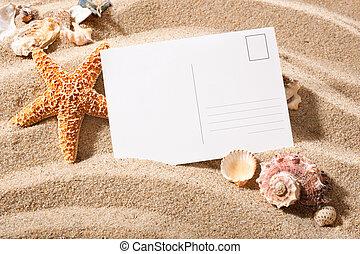 vykort, från, strand