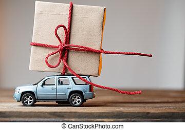 vykort, med, bil, bärande, gåva