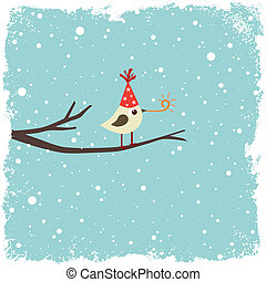 vykort, med, fågel