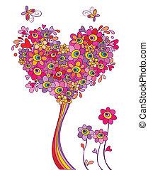 vykort, med, rolig, hälsning, träd
