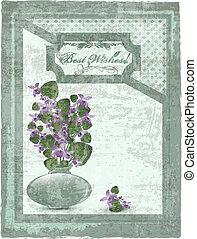 vykort, med, violett, hos, grunge, bakgrund