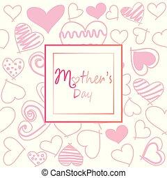 vykort, mor, kort, hälsning, mall, dag, kort