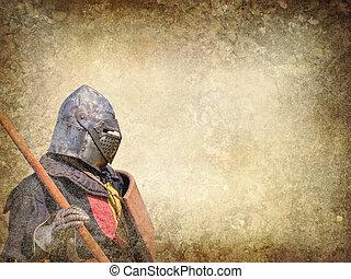 vykort, riddare, -, pansrad, retro