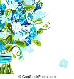 vykort, text, plats, din, blommig