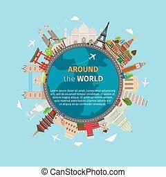 vykort, värld res, omkring