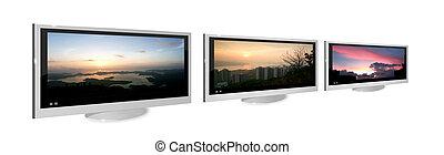 vystavit, televize, tři, kovový, lcd, grafické pozadí, neposkvrněný, stříbrný