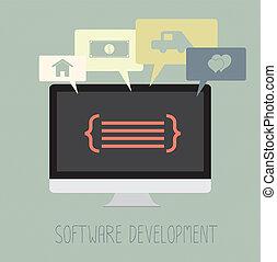 vyvolávání, běžet, kódování, software