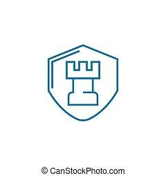 vyvolávání, lineární, ochrana, firma, concept., znak, vektor, osoustavy, řádka, ikona, illustration.