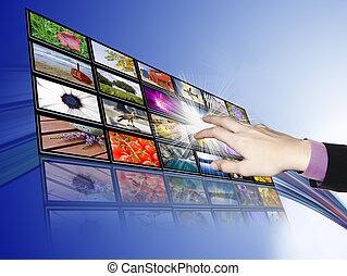 vyvolávání, touch-screen, technika, komunikace