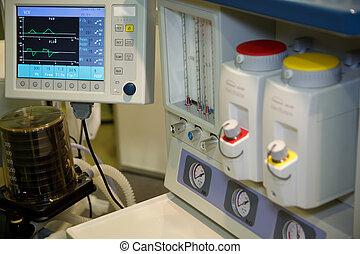 vzkříšení, systém, anapnotherapy., monitor, s, zdraví, data, based.
