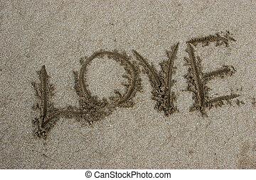 vzkaz, láska, dále, písčina