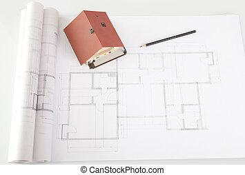 vzor, ubytovat se, dále, architektura, konstrukce, plán