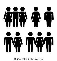 vztah, sám, vektor, lidský, trojhra, combination., sexuální, ikona, set., dvojice