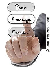 wählen, durchschnitt, auf, servicefachkraft, auswertung, form