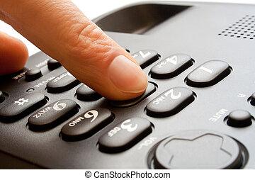 wählen, -, telefon- tastaturblock, finger