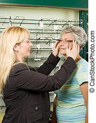 wählende gläser, an, der, optiker