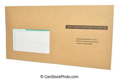 wähler, brief, registrierung