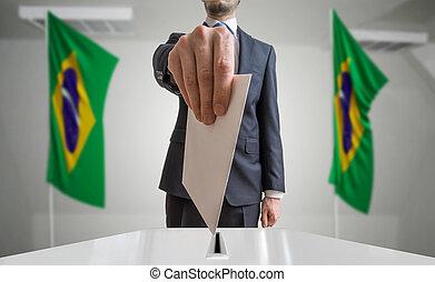 wähler, hält, briefkuvert, referendum, hand, wahl, brazil.,...