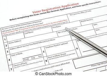 wähler registrierung, anwendung, mit, silber, stift