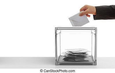 wähler, weiß, hintergrund., 3d, abbildung
